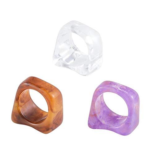 Gazaar - Anelli geometrici colorati e grosse, con motivo in marmo, in acrilico, idea regalo per donne e ragazze, anelli geometrici impilabili, anelli geometrici