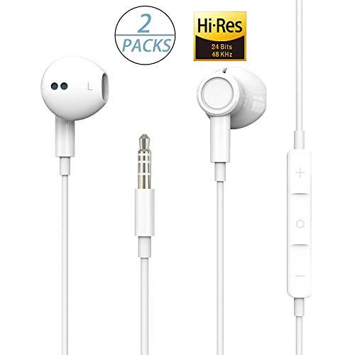 【2Pack】para Auriculares con iPhone para Auriculares de 3.5 mm, Auriculares con micrófono y Control de Volumen para Auriculares iPhone Auriculares compatibles con iPhone 6s/6plus/6/5s, Android, PC