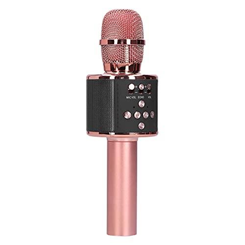 Micrófono de karaoke de oro rosa, portátil Interconexión de Micrófono Tws para Exterior