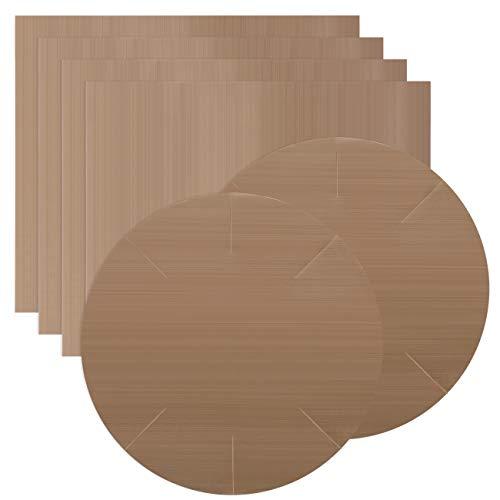 Gwhole Set di 6 Tappetino da Forno Riutilizzabile Antiaderente Carta da Forno Carta Cottura Foglio da Forno Utensile da Cucina, Tagliabili e Lavabili