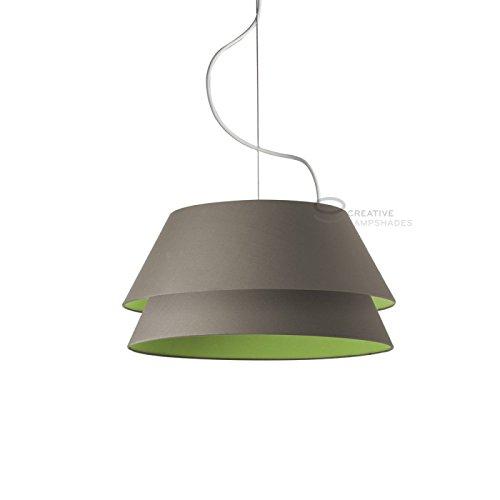 Creatieve lampenkappen Complete dubbele hanger extern in antraciet katoen intern in olijfgroen katoen, E27 fitting Max 60W