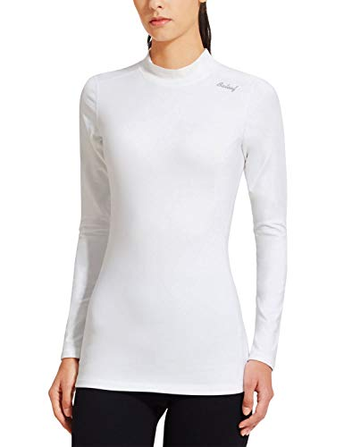 BALEAF Women's Fleece Thermal Mock Neck Long Sleeve Running Shirt Workout Tops White Size S