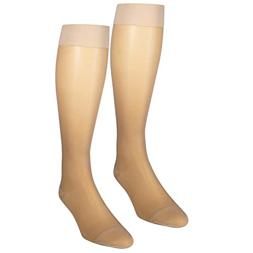 NuVein Sheer Compression Stockings Fashion Silky Sheen Denier Knee High, Beige, XXX-Large