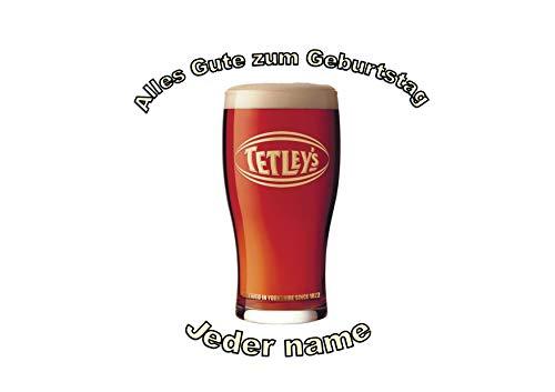 Pint Tetleys Yorkshire Bier Ale personalisierter Name 8 Zoll runder Zuckerglasurdeckel Pint of Tetleys Yorkshire Beer Ale