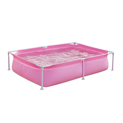 Summer Waves P3060416A 6 x 4.25 Foot 17 Inch Deep Rectangular Small Metal Frame Above Ground Family Backyard Swimming Pool, Blue -  Polygroup