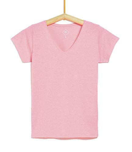 TEX - Camiseta Manga Corta Lisa para Mujer, Rosa Chicle, M