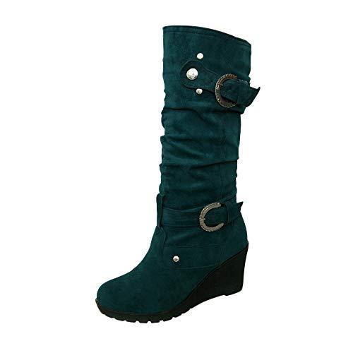 Honestyi Bottes Compensées Femme Couleur Unie Bottines Cuir Mat Boots Bout Rond Bottes Martin Casual Shoes Suede Fond Plat Boucle Bottes Chaussures Escarpins Chaussures de Outdoor
