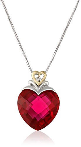Sterling Silver and 14k Yellow Gold Created Ruby Heart and Diamond-Accent Pendant Necklace, (.006 cttw, I-J Color, I2-I3 Clarity), 18""