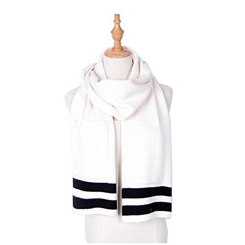 Memefood Bufanda de lana de punto para mujer, estilo simple, 170 x 35 cm