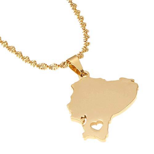Collares de acero inoxidable Collares con colgante de mapa de Ecuador de acero inoxidable, collar con colgante de mapa de joyería ecuatoriana, regalo para hombres y mujeres