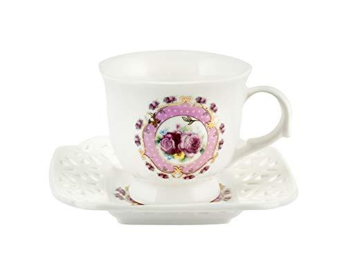 Royal Norfolk 725364 - Juego de 2 tazas de café, porcelana, diseño de flores, color rosa