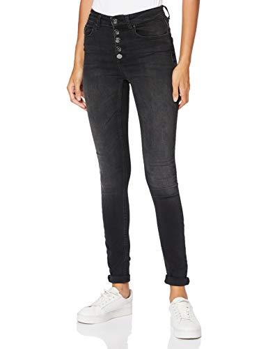 ONLY Damen Jeans High Waist Blush Button Stretchhose sichtbare Knopfleiste15179112 Black Denim S/30