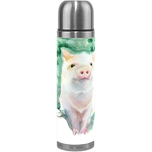 Thermosflasche Wasserflasche Skizze Schweinchen Doppelwandig Vakuumisolierte Edelstahl Thermosflasche Auslaufsicher Sport Kaffeemaschine Tasse,500 ML