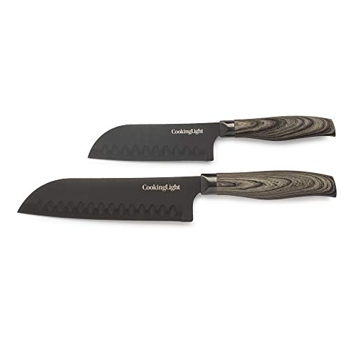 Cooking Light 2 Piece Set Look 5 Inch 7 Inch Santoku Knife, Black Non-Stick, Ergonomic Handle, Hollow Edge Blade, Dark Wood
