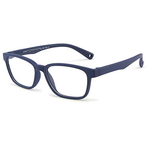 VEVESMUNDO Kinder Blaulichtfilter Anti Blaulicht Brillen Ohne Stärke Anti Müdigkeit Silikon Rechteckig Brillenfassung mit Etui für Mädchen Jungen Teenager (blau)