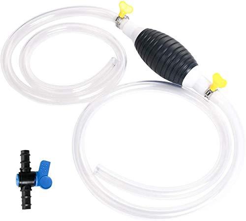 Wasser Flüssigkeit Förderpumpe großer Durchfluss Siphon manuelle Pumpe manuelle Auto Kraftstoffpumpe für Benzin Benzin Diesel Diesel flüssiges Wasser Aquarium mit 2M Siphonrohr und Regelventil