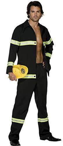 Erwachsene Herren Sexy Feuerwehrmann Uniform Emergency Service Fever Kostüm Kleid Outfit - Schwarz, Medium / 38