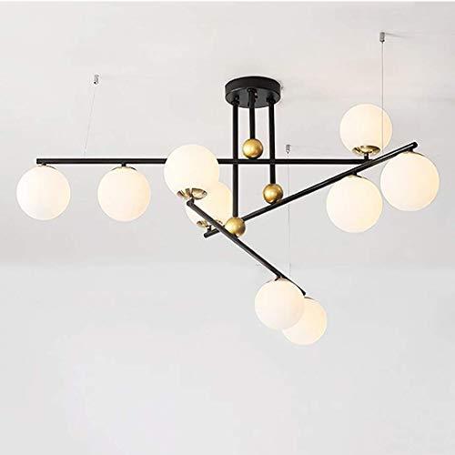 WEM Candelabro, Sputnik Candelabros de 10 luces, Iluminación colgante moderna E27, Globo de vidrio soplado a mano, Vasos esmerilados, Lámpara de techo, Luz para colgar en el hogar, Crema de 10 luces,