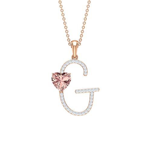 Rosec Jewels 18 quilates oro rosa corazón Round Brilliant morganita creada en laboratorio Moissanite