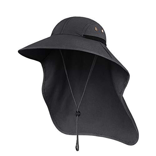 Sombreros para el Sol Hombre, Gorra Transpirable ala Ancha protección UV Protege Cuello Cara, Sombrero Jardin Hombre Adecuado para Trekking (Gris Oscuro)