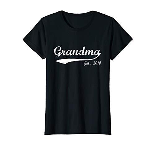 Womens New Grandma T-Shirt - Grandma Est 2018 - Grandma To Be Shirt