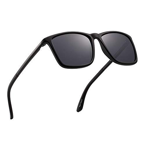 JIM HALO Polarizadas Conducir Gafas de Sol Retro Cuadrado UV Protección Clásico Sol Anteojos Hombre(Negro/Gris Polarizado)
