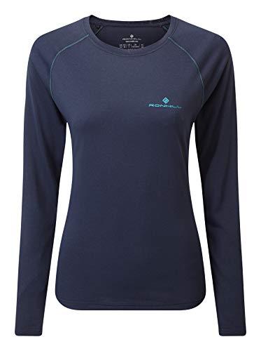 Ronhill T-Shirt à Manches Longues pour Femme avec Manches Longues, Deep NavyMarl/SpaGreen, Taille 16
