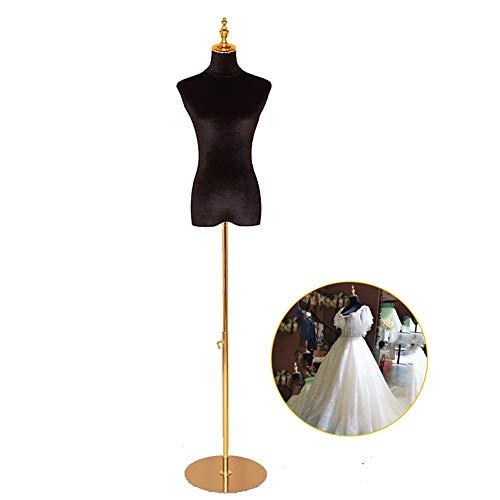 SSZY Maniqui Costura Modista Busto Vestido de Mujer Negro con Forma de Cuerpo de Torso de maniquí con Soporte y Cabeza Ajustables Dorados, para Vestido de Novia/exhibición de joyería/Camisetas