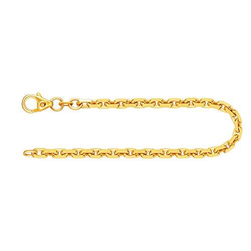 Pulsera para Hombre de oro real de 3 mm, pulsera Diamante del anclaje Oro amarillo 14 k 585, pulsera de oro con sello, con сierre de mosquetón, long. 14 cm, p. 6.1 g, Hecho en Alemania