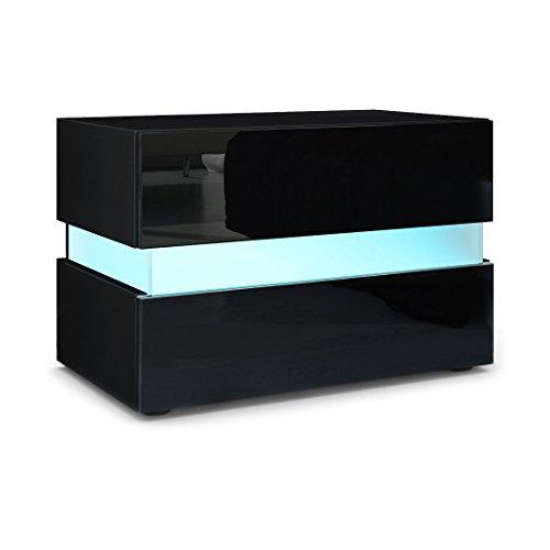 Vladon Nachttisch Nachtkonsole Flow, Korpus in Schwarz matt/Front in Schwarz Hochglanz inkl. LED Beleuchtung