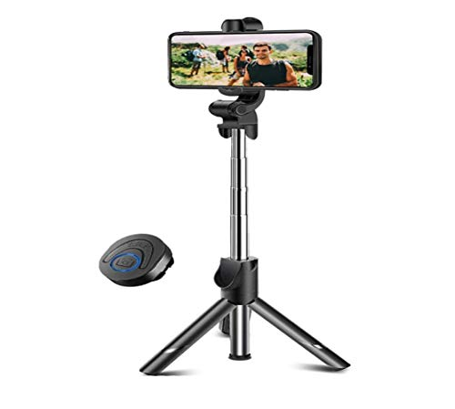 Selfie Stick Tripod Bluetooth, Mini Extendable Phone Tripod Selfie Stick with Wireless Remote Shutter for iPhone Galaxy (Black, one Size)