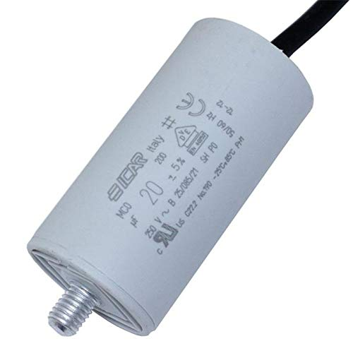 Anlaufkondensator Motorkondensator 20µF 250V 36x70mm Kabel 25cm ICAR 20uF