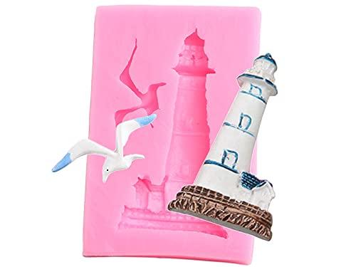 XIAOM Kuchenform Leuchtturm Vogel Silikonform Praline Candy Formen Polymer Clay DIY Kuchen Dekorieren Werkzeuge Küche Backen Fondantformen