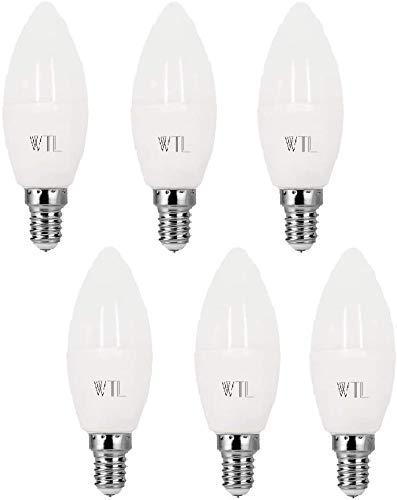 WTL E14 LED-Kandelaber Lampe 6 Pack, 40W-Äquivalent(3W), 3000K Warmweiß, 240lm, nicht dimmbar, C37-Kerzenlampe mit kleiner Edison-Schraube für Deckenventilator