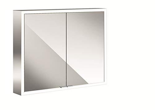 Emco Asis Spiegelschrank mit LED-Beleuchtung (Breite 80 cm, Aufputz-Modell, verspiegelte Rückwand, Badspiegel) 949705062, Spiegel, Normal