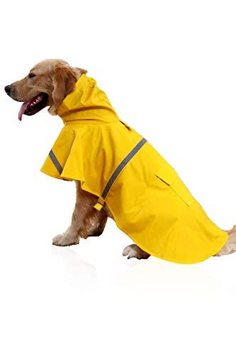EONAZE Hunderegenmantel mit reflektierendem Streifen,Wasserdicht Verstellbar Atmungsaktive Regenmantel für Kleine Mittelgroße Grosse Hunde (M)