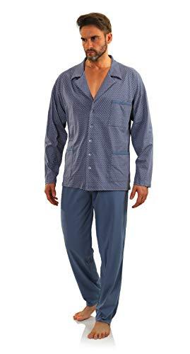Sesto Senso® Herren Schlafanzug Lang Pyjama mit Knopfleiste 100{2e8b7e27c0f75f532b6be6ea69ad3f2e1144bc67d654a94b985c91ffb1cb9324} Baumwolle Knöpfe Langarm Shirt mit Taschen Pyjamahose Zweiteilig Set Nachtwäsche (XXL, kotwice Jeans)