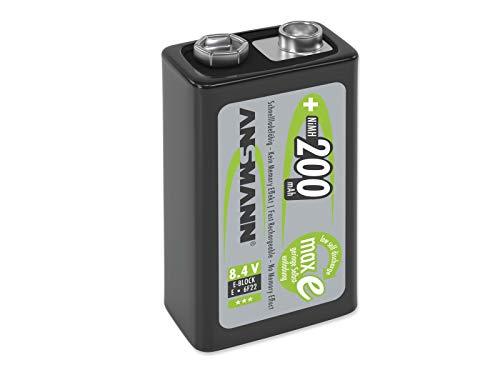 Pile ANSMANN 9V 200 mAh NiMH (unité 1) - batteries rechargeables bloc 9 Volt, faible autodécharge maxE pour une utilisation pendant plusieurs années