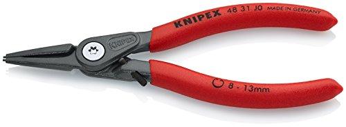 KNIPEX 48 31 J0 Pince de précision pour circlips pour circlips intérieurs d'alésage avec protection contre la distorsion grise atramentisée gainées en plastique antidérapant 140 mm