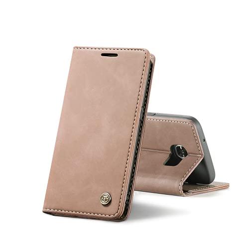 Chocoyi Compatible Funda Samsung Galaxy S7 Edge Flip Leather Edition,magnético, función de Soporte y Ranuras para Tarjetas-Marron Oscuro