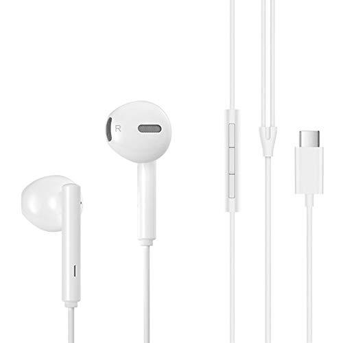 XO - Ecouteurs Ergonomiques Blanc USB-C pour Huawei P40 Pro - Mate XS - Mate 40 Pro - Mate 20 X 5G - Nova 5T - Honor 20 Pro - Honor 20 - P30 Pro - Mate 20 Pro - P20 Pro - P20 - Mate 10 Pro