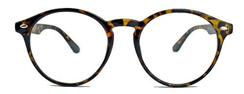 Classic Nerdbrille: große, fast runde Pantobrille filigrane Streberbrille Hornbrille clear lens KTY (Braun / Mod.18)
