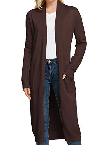 Women Long Sleeve Sweater Coat Knitwear Maxi Cardigan Outwear with Pockets(L,Coffee)