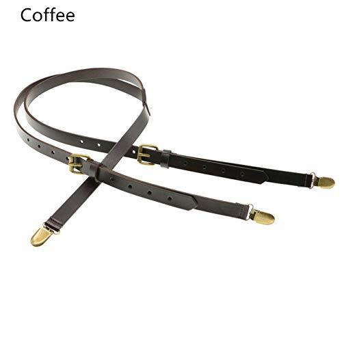 JJZZ Hosenträger 1,7 cm braunes Lederband Frauen Männer Hosenträger Gürtel verstellbare Bronze Schnalle Hosenträger Bräutigam Y-förmige Geschenktüte, Kaffee