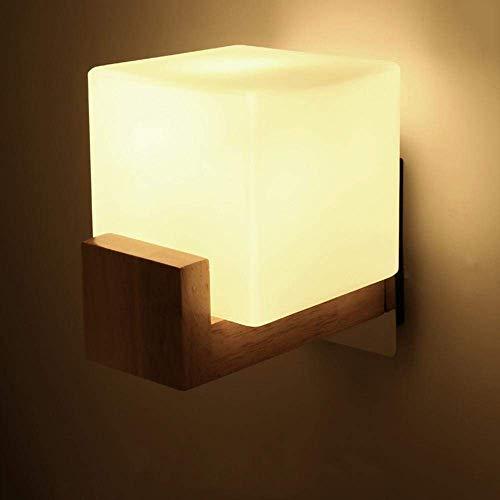 LHQ-HQ Luces Modernos LED Minimalistas de Pared en Madera sólida, lámpara de Noche, salón Dormitorio E27 lámpara, Vidrio de iluminación de Montaje 3W 1 Pieza de Pared [A +] [energética A ++]