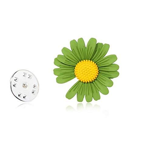 Broches de flores a la moda para mujer, broche de margaritas para ropa, collar con hebilla, joyería, verde