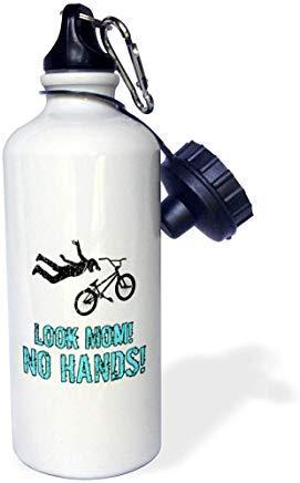 GFGKKGJFD603 Carsten Reisinger - Illustrazioni - Ventilatore BMX - Look Mom. No Hands. Divertente Biker in alluminio bianco con cannuccia
