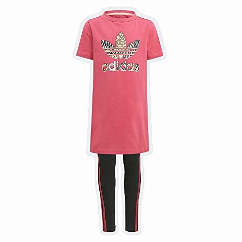 adidas Unisex Kinder Tee Dress Set Trainingsanzug, Top:wild Pink/Multicolor Bottom:black/Wild Pink S21, 6 Jahre EU