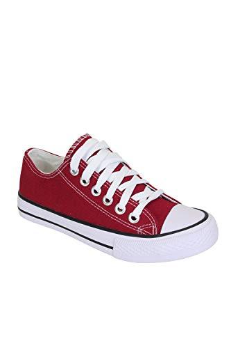 Frentree Unisex Damen Herren Sneaker Low Bequeme Leinenschuhe (bei größerem Fuss eine Nummer größer nehmen als Vorschlag), Farbe:Wein, Größe:37