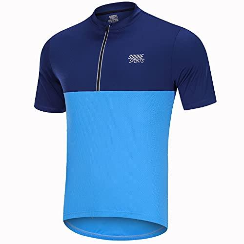 Souke Sports Mens Cycling Jerseys Bike Shirt Short Sleeve Cycling Tops for Men with 3 Rear Pockets Blue